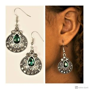 Royal Refinery - Green Faceted Rhinestone Earrings